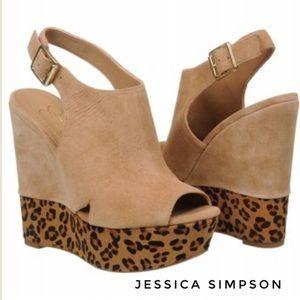 Jessica Simpson Leopard Print Wedge Sandals